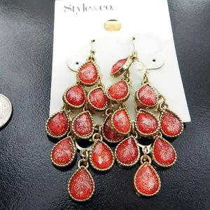 $10 or 3/$21  Red+Gold Chandelier Earrings MSRP$20